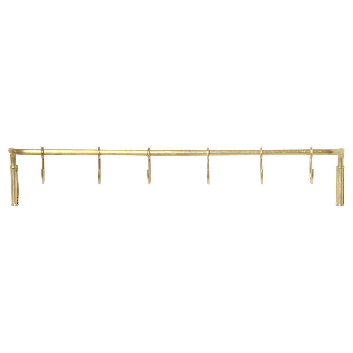 Ferm Living Kitchen rod with 6 hooks, brass
