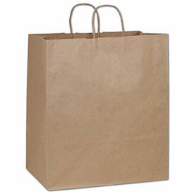 Bags & Bows by Deluxe Recycled Kraft Paper Shoppers Take Home, 14 x 10 x 15 1/2""