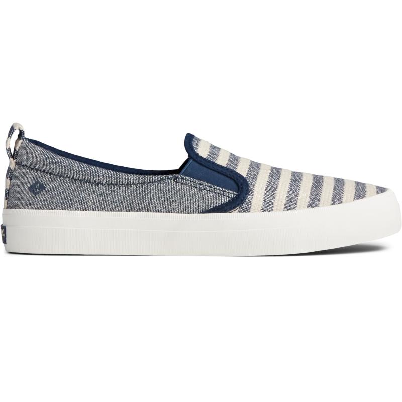 Sperry Top-Sider Crest Twin Gore Seasonal Stripe Slip On Sneaker Size: 7.5M, Oat/Blue