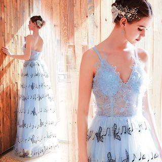 Angel Bridal Spaghetti Strap Embroidered Music Note Mesh A-Line Evening Gown