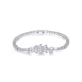 BELEC Fashion Geometric Fan-shaped Bracelet with Cubic Zirconia 17cm Silver - One Size