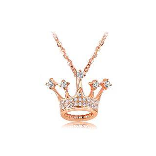 BELEC Fashion Plated Rose Gold Crown Pendant with White Austrian Element Crystal and Necklace