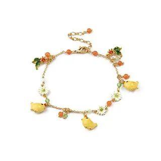 BELEC Fashion Cute Plated Gold Enamel Chicken Flower Cubic Zirconia Bracelet Golden - One Size