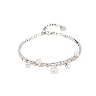 BELEC 925 Sterling Silver Fashion and Elegant Geometric White Freshwater Pearl Bangle with Cubic Zirconia Silver - One Size
