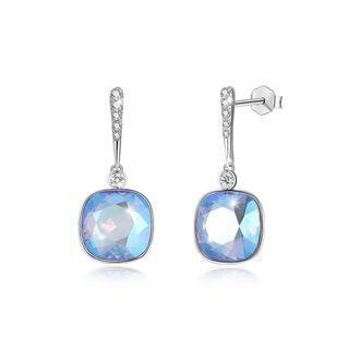 BELEC 925 Sterling Silver Elegant Fashion Simple Sparkling Light Blue Austrian Element Crystal Earrings Silver - One Size