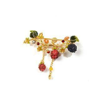 BELEC Fashion and Elegant Plated Gold Enamel Raspberry Tassel Brooch Golden - One Size