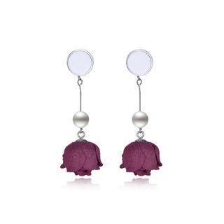 BELEC Sterling Silver Fashion Elegant Red Rose Pearl Tassel Earrings Silver - One Size
