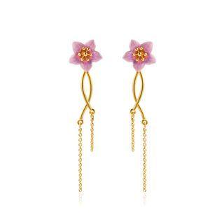 BELEC Fashion Elegant Plated Gold Enamel Pink Flower Tassel Earrings Golden - One Size