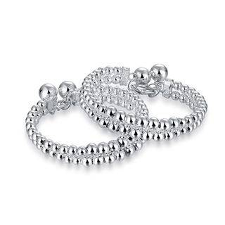 BELEC 925 Sterling Silver Fashion Simple Geometric Round Bead Bracelet Silver - One Size