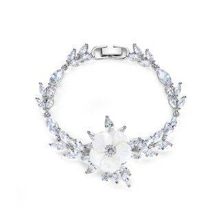 BELEC Elegant and Fashion Flower Bracelet with Cubic Zirconia Silver - One Size