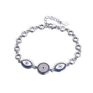 BELEC 925 Sterling Silver Elegant Fashion Eye Shape Bracelet with Cubic Zircon Silver - One Size