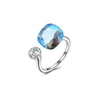 BELEC 925 Sterling Silver Fashion Simple Blue Austrian Element Crystal Square Adjustable Ring Silver - One Size