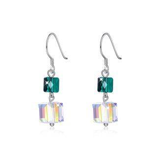 BELEC 925 Sterling Silver Fashion Individual Square Earrings with Austrian Element Crystal Silver - One Size