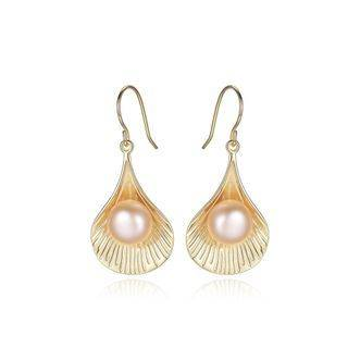BELEC Sterling Silver Plated Gold Simple Fashion Shell Pink Freshwater Pearl Earrings Golden - One Size