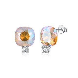BELEC Sterling Silver Fashion Simple Geometric Square Stud Earrings with Gold Austrian Element Crystal Silver - One Size
