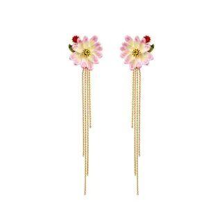 BELEC Fashion and Elegant Plated Gold Enamel Flower Tassel Earrings Golden - One Size