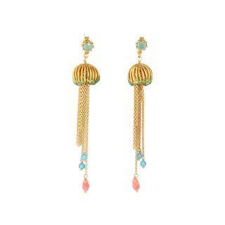 BELEC Fashion Creative Plated Gold Enamel Jellyfish Tassel Earrings with Cubic Zirconia Golden - One Size