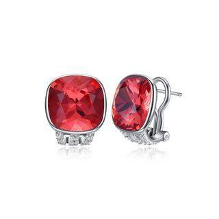 BELEC 925 Sterling Silver Fashion Elegant Geometric Square Red Austrian Element Crystal Earrings Silver - One Size