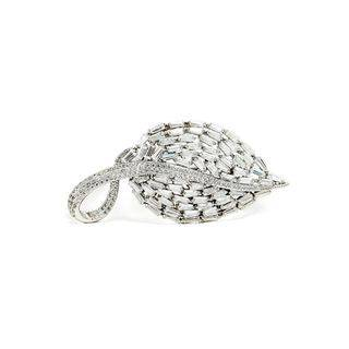 BELEC Fashion Bright Leaf Brooch with Cubic Zirconia Silver - One Size