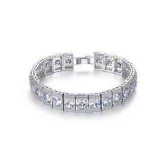 BELEC Fashion and Elegant Geometric Square Bracelet with Cubic Zirconia 17cm Silver - One Size