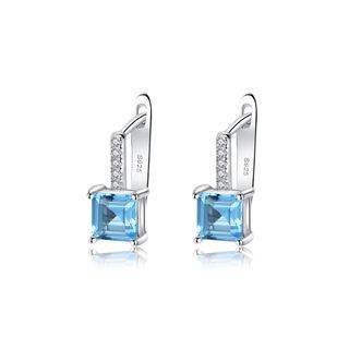 BELEC Sterling Silver Simple and Fashion Geometric Square Stud Earrings with Blue Cubic Zirconia Silver - One Size