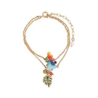 BELEC Fashion Elegant Plated Gold Enamel Parrot Leaf Double Bracelet Golden - One Size