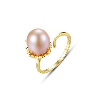 BELEC 925 Sterling Silver Plated Gold Simple Fashion Purple Freshwater Pearl Adjustable Open Ring Golden - One Size