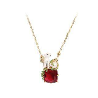 BELEC Fashion Creative Plated Gold Enamel Polar Bear Red Cubic Zirconia Necklace with Imitation Pearls Golden - One Size