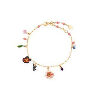BELEC Fashion and Elegant Plated Gold Mona Garden Flower Enamel Bracelet Golden - One Size
