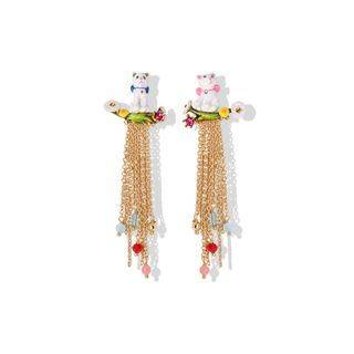 BELEC Fashion and Elegant Plated Gold Enamel Cat Tassel Earrings Golden - One Size