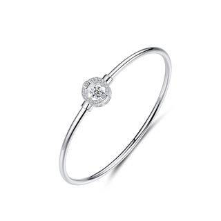 BELEC 925 Sterling Silver Fashion Simple Geometric Round Cubic Zirconia Bracelet Silver - One Size