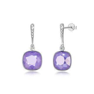 BELEC 925 Sterling Silver Elegant Fashion Simple Sparkling Purple Austrian element Crystal Earrings Silver - One Size