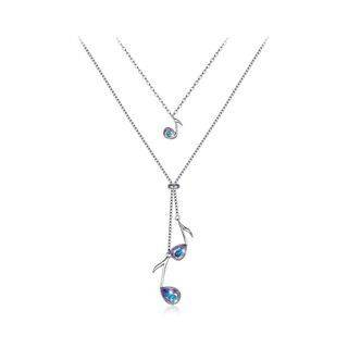 BELEC 925 Sterling Silve Elegant Fashion Musical Note Necklace with Austrian Element Crystal Silver - One Size