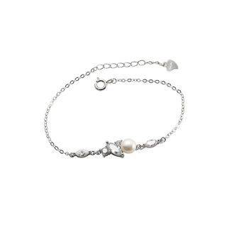BELEC 925 Sterling Silver Simple and Fashion Geometric Freshwater Pearl Bracelet with Cubic Zirconia Silver - One Size