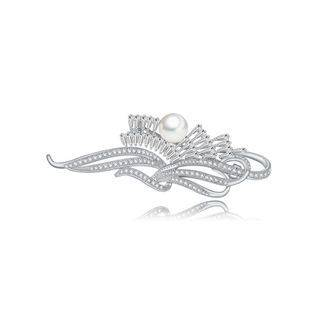 BELEC Fashion and Elegant Geometric Imitation Pearl Brooch with Cubic Zirconia Silver - One Size