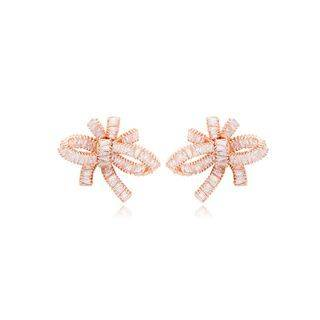 BELEC Fashion and Elegant Plated Rose Gold Ribbon Cubic Zirconia Stud Earrings Rose Gold - One Size