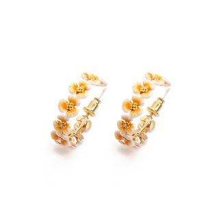 BELEC Fashion and Elegant Plated Gold Enamel Yellow Flower Earrings Golden - One Size
