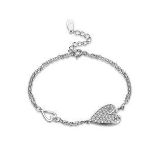 BELEC 925 Sterling Silver Elegant Fashion Romantic Heart Shape Bracelet with Cubic Zircon Silver - One Size