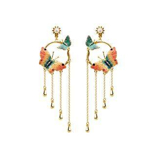 BELEC Fashion and Elegant Plated Gold Circle Enamel Butterfly Tassel Earrings with Imitation Pearls Golden - One Size