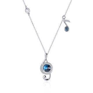 Muscovite Swarovski Elements Crystal Music Note Pendant Necklace Blue - One Size
