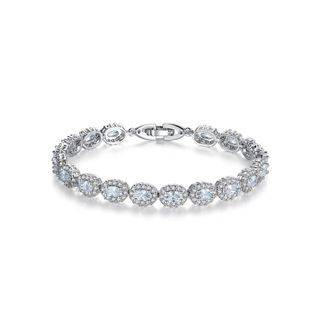 BELEC Elegant and Fashion Geometric Oval White Cubic Zirconia Bracelet 19cm Silver - One Size