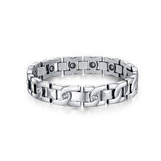 BELEC Simple Fashion Geometric 316L Stainless Steel Bracelet with Cubic Zirconia For Women Silver - One Size