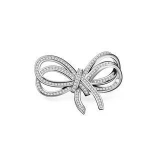 BELEC Fashion Simple Ribbon Brooch with Cubic Zirconia Silver - One Size