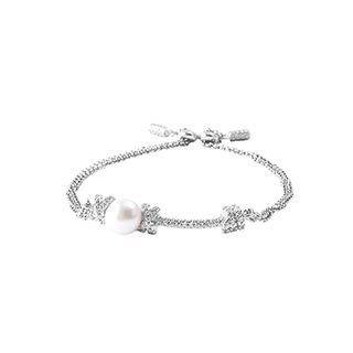 BELEC 925 Sterling Silver Fashion Simple Geometric Freshwater Pearl Double Bracelet with Cubic Zirconia Silver - One Size