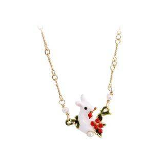 BELEC Fashion Cute Plated Gold Enamel Rabbit Necklace Golden - One Size