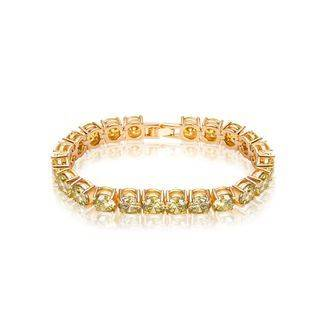BELEC Fashion Simple Plated Gold Geometric Round Yellow Cubic Zirconia Bracelet 17cm Golden - One Size