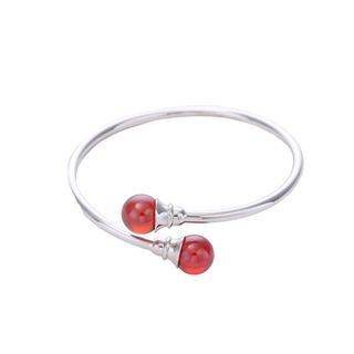 BELEC 925 Sterling Silver Simple Fashion Geometric Round Red Imitation Pearl Bangle Silver - One Size