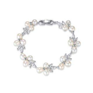 BELEC Fashion and Elegant Flower Imitation Pearl Bracelet with Cubic Zirconia Silver - One Size