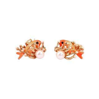 BELEC Fashion Cute Plated Gold Enamel Orange Fish Imitation Pearl Stud Earrings Golden - One Size