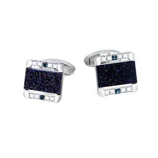 BELEC Fashion Simple Frosted Blue Geometric Rectangular Cufflinks with Cubic Zirconia Silver - One Size